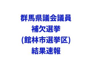 群馬県議会議員補欠選挙(館林市選挙区)結果速報(2017年5月14日投票)