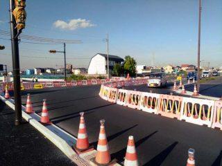 西部一号線佐野線アンダーパス工事、片側交互交通が解消される