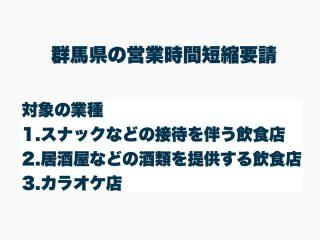 【更新】群馬県、館林市を含む群馬県東部5市の飲食店に営業時間短縮要請